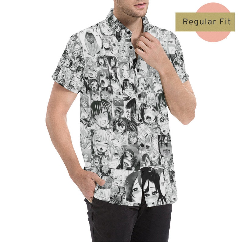 28943901e0 Men Ahegao Oxford Shirt, Lewd anime button down, Ecchi Dress, Anime Gifts  For Him, Porn Girl Japanese