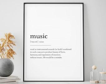 Gift Music Print Music,Music Art Music Poster Music Wall Art Music Definition Print Music Definition Wall Art Print,Definition Poster Music Decor Music Quote Music Gift