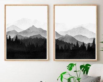 Minimalist Gallery Wall Art Set Blue Mountain Landscape Art Print Modern Landscape Photography Set Of 2 Prints Pine Tree Print Set Of Two