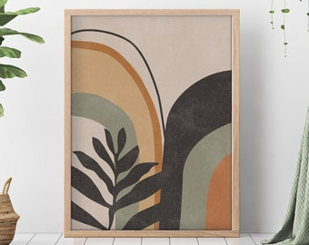 Bohemian Wall Art, Boho Art Print, Beige and Green, Minimal Print, Minimalist Art Print, Minimalist, Mid Century Modern Geometric Shapes,