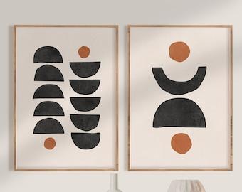 Mid Century Modern Wall Art Print Set of 2, Neutral Abstract Geometric Digital download Prints, Black Cream Orange Minimal Gallery Art