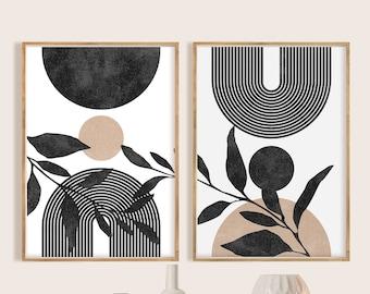 Mid Century Modern Black White Beige Minimal Gallery Art Wall Art Print Set of 2, Neutral Abstract Geometric Digital Download Prints