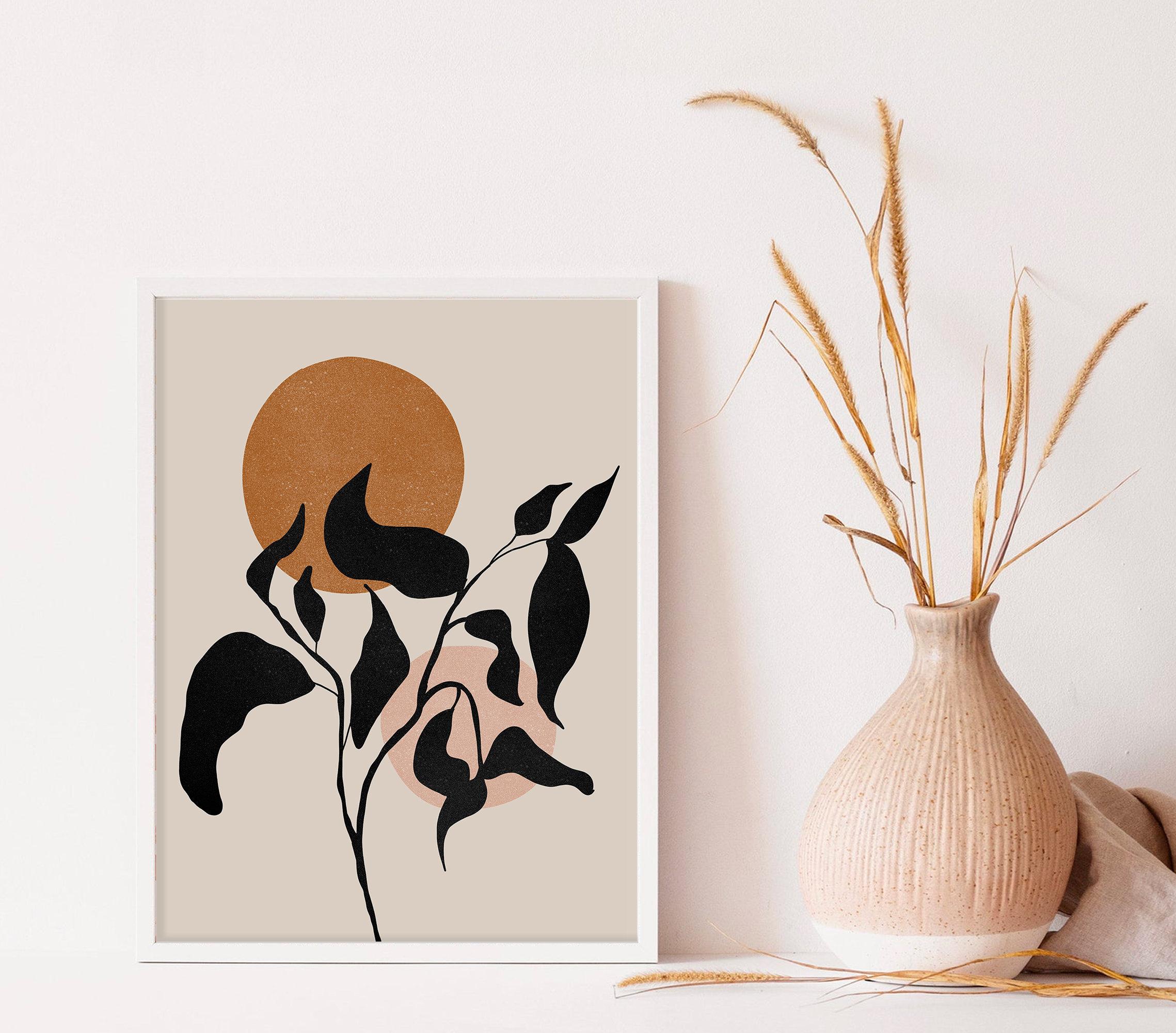 Boho Wall Art, Botanical Boho Decor Print, Abstract Modern Wall Art,  Terracotta Print, Neutral Colors Wall Art Prints, Terracotta Wall Print