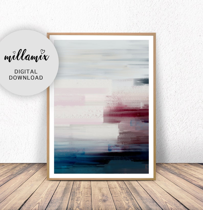 Abstract Painting Featuring Teal Mustard Navy Blue and Blush image 0