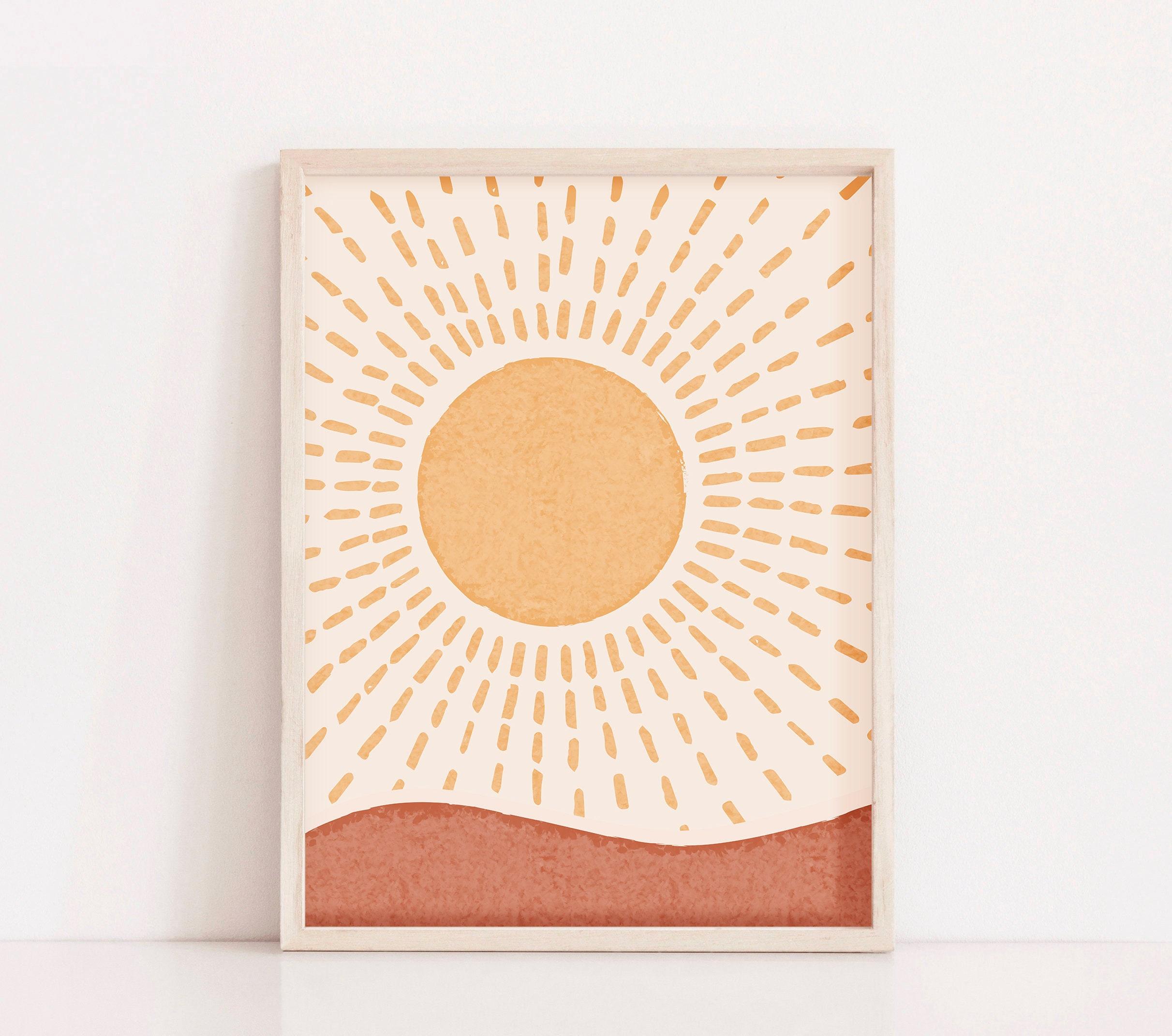 Boho Rising Sun Art Print Printable Wall Art Mid Century   Etsy