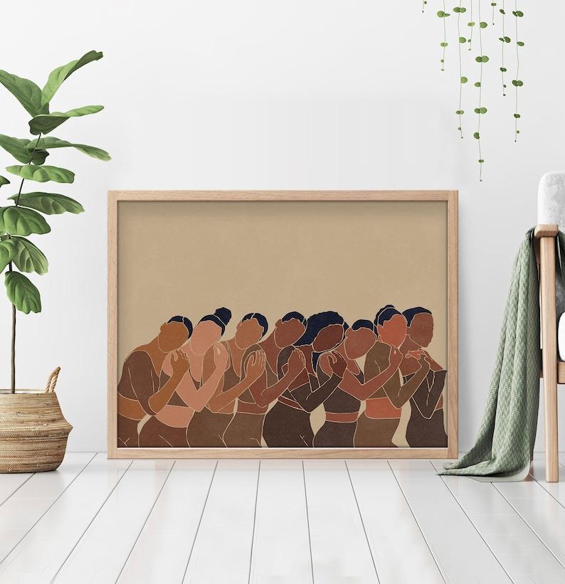 Female Line Drawing Figure Digital download Bohemian Art Terracotta Minimal Modern Wall Art Beach Black Woman Print Boho Burnt Orange Sun