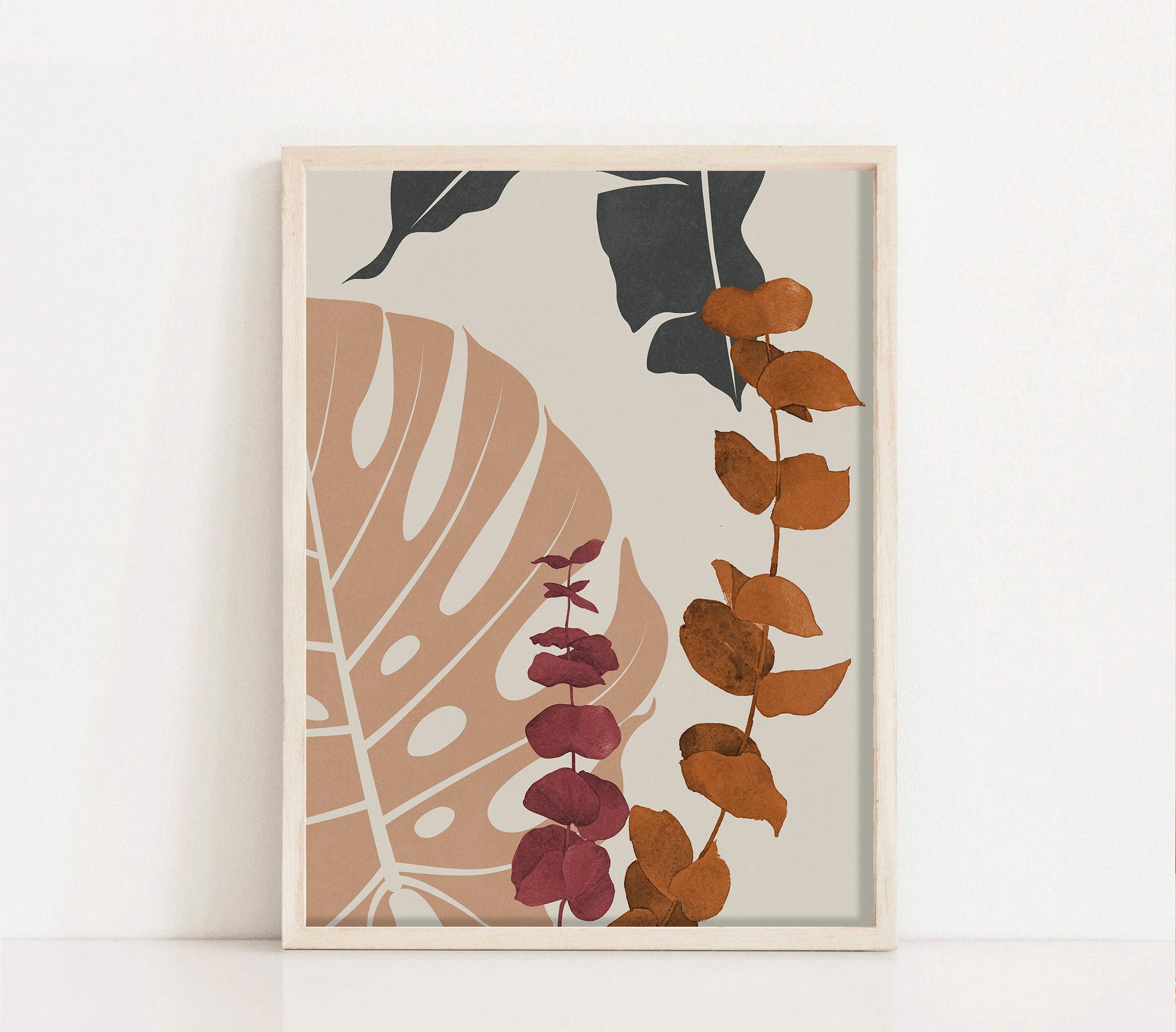 Boho Botanical Art Print, Printable Wall Art, Boho Wall Decor, Terracotta  Flower Wall Art, Floral Wall Art, Abstract Botanical Prints