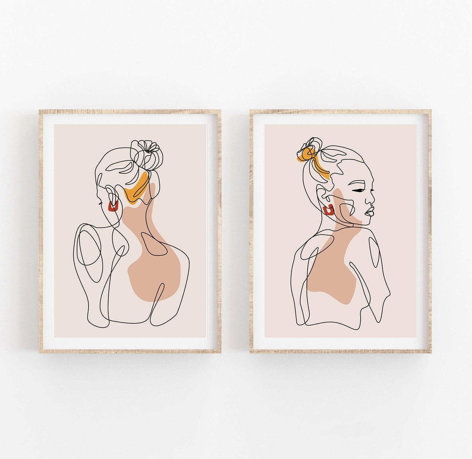 Abstract Face Line Art Print Set of 20, Woman Face Single Line Drawing, Line  Portrait Earth Tones Minimal Art, Terracotta Beige Boho Decor
