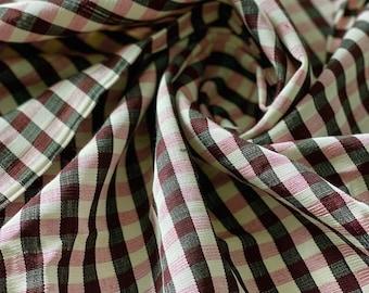 """Rose-Black-White, Plaid Kutnu fabric. 32"""" wide Woven plaid fabric. Silk&Cotton, checked Turkish kutnu fabric by the yard."""