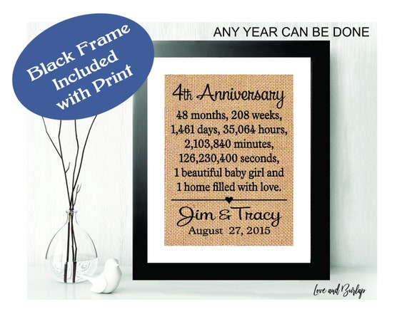 Framed 4th Anniversary Gift 4th Year Anniversary Gift For Etsy