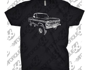 Classic Car Shirt of 1977 Ford Truck, Unisex, Car Enthusiasts, Car Apparel, Hand Drawn, 1977 Ford F250 Shirt, 1976 1977 1978 Ford Shirt