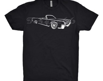 1962 Lincoln Continental Shirt, Car Enthusiast, 1962 1963 1964 1965 1966 Lincoln Continental Shirt, Hand Drawn, Car Art, Classic Car Shirt