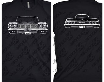 1964 Chevy Impala Shirt, Car Enthusiast, 1964 Chevy Impala Front and Back, Car Art, Gift, 1961 1962 1963 1964 1965 Chevy Impala Shirt