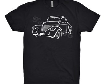 Classic Car Shirt of 1938 Willys Coupe, Car Enthusiast, 1938 Willys Shirt, Hand Drawn, Car Art, Car Gift, Gift
