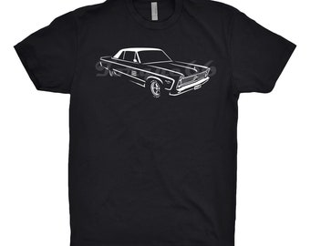 1966 Plymouth Fury Shirt, Car Enthusiast, Unisex Shirt, 1964 1965 1967 Plymouth Fury Shirt, Mopar Shirt, Hand Drawn, Car Art