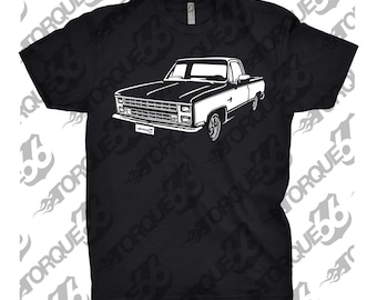 Classic Car Shirt of 1985 Chevy Truck, Unisex, Car Enthusiasts, Car Apparel, Hand Drawn, Car T-Shirt, 85 Chevy C10 Shirt, 1985 C10, Gift