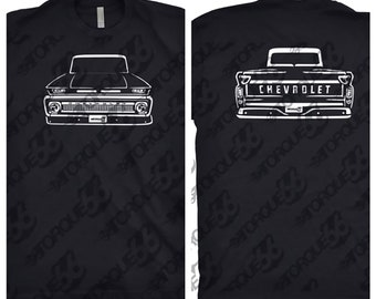 1965 Chevy C10 Shirt, Car Enthusiast, 1965 Chevy C10 Shirt Front and Back, 1965 C10 Shirt, Gift, Car Art,