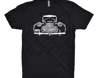 Classic Car Shirt of a 1940 Chevy, Car Enthusiast, 1940 1941 1942 1943 Chevy Shirt, 1940's Chevy Shirt, Classic Car Shirt, Hand Drawn Art