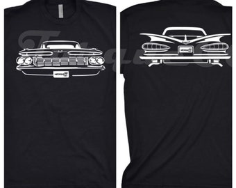 1959 Chevy Impala Shirt, Car Enthusiast, 1959 Impala Shirt, 1959 Impala Front and Back Shirt, 1959 1960 1961 Chevy Impala Shirt, Car Art