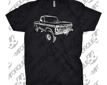 Classic Car Shirt of 1977 Ford Truck, Unisex, Car Enthusiasts, Car Apparel, Hand Drawn, 1977 Ford F250 Shirt, 1976 1977 1978 Ford Shirt