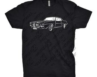 Hand Drawn Classic Car Shirt of 1969 Pontiac Firebird, Car Apparel, Car Enthusiasts, Gift For Him, 1967 1968 1969 Pontiac Firebird Shirt