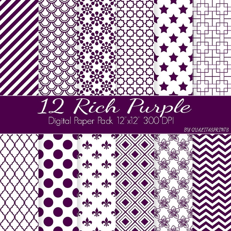 Scrapbooking craft paper pattern downloads Purple Digital Paper  pack,Digital Download paper Journal Paper