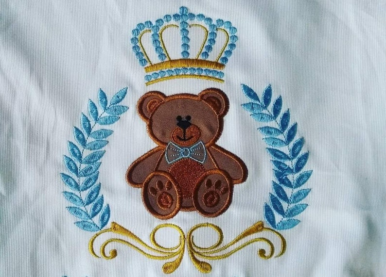 Bear with crown- embroidery applique/ Custom Embroidery Digitizing / Custom  Embroidery Pattern/ Custom Digitizing / Embroidery Designs