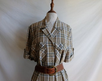 tartan plaid wrap skirt wool maxi dress Sue Brett 60s to 70s vintage long sleeve