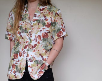 Vintage colorful silk blouse with abstract patterns Retro orange sage blue yellow and white long sleeve shirt