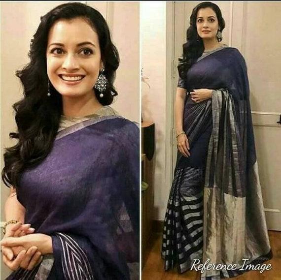 Linen by linen 100 count purple pure organic handwoven saree with golden zari border,Purple linen saree,Designer linen saree with blouse