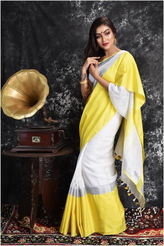 Indian saree,Partywear saree Linen saree Pure Organic with blouse piece Organic handwoven 100 count Linen saree