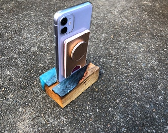 Salvaged Maple and Resin Phone Stand