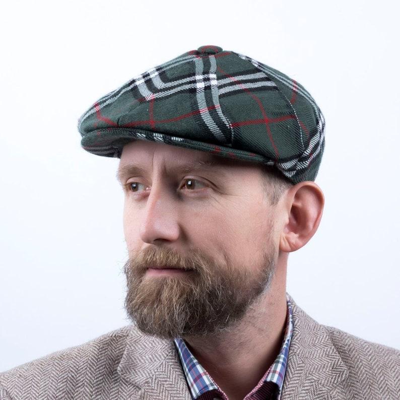 Plaid Irish cap Men s tweed hat Brian Johnson cap Peaky  30929b3d1b12