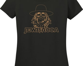 4047c409 Jewbacca Chewbacca Parody Black Ladies T-Shirt (S-3X)