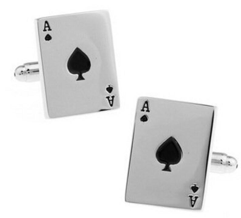 Ace of Spades Car Poker Las Vegas Death Card Spadille Cufflinks