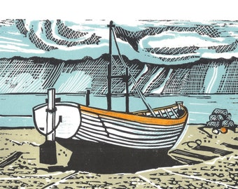 Original limited edition lino cut, Storm off Aldeburgh II,  by Jem Seeley