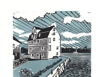 Original limited edition lino cut, Woodbridge Tide Mill,  by Jem Seeley