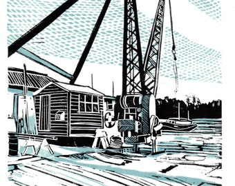 Original limited edition lino cut, Boatyard Cranes, Woodbridge,  by Jem Seeley