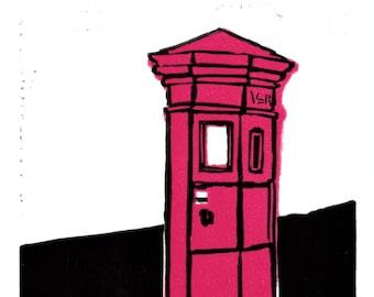 Original limited edition lino cut, Victorian Pillar Box, Framlingham, by Jem Seeley