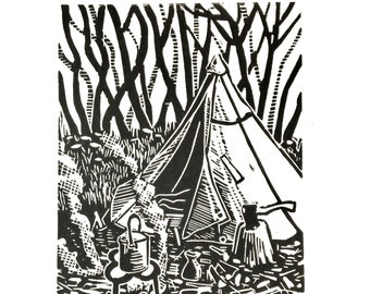 Original limited edition lino cut, Woodland Camp, by Jem Seeley