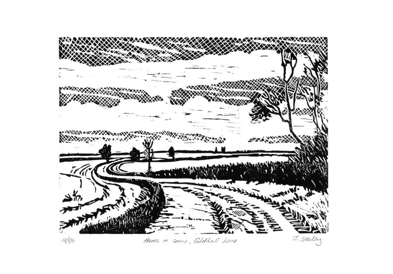 Original limited edition lino cut Hares in snow Coldhall image 0