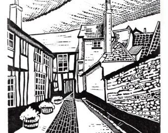 Original limited edition lino cut, Queen's head Alley, Framlingham Castle,  by Jem Seeley