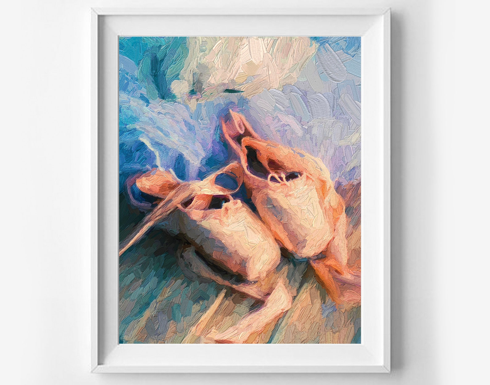 ballet shoes printable art, pointe oil painting, canvas print, ballet wall decor, modern wall decor, nursery printable, girls ro