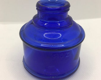 VTG Antique Bottle Jars VINTAGE Shabby Chic VINTAGE Green Depression And Cobalt Blue Glass Ink Bottle,
