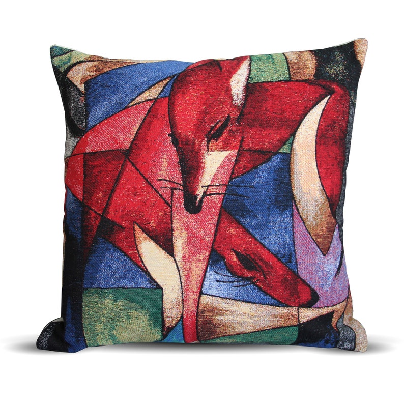 Red Gazelles model, Goblin Art on Cushion, Pillow Cover, Multicolor, Woven  Fabric, 16X16 inches/ 41X41 cm, app  40x40 cm, Invisible Zipper
