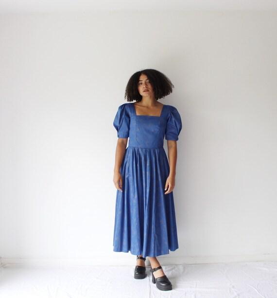 Vintage 80s blue puff sleeve Laura Ashley dress
