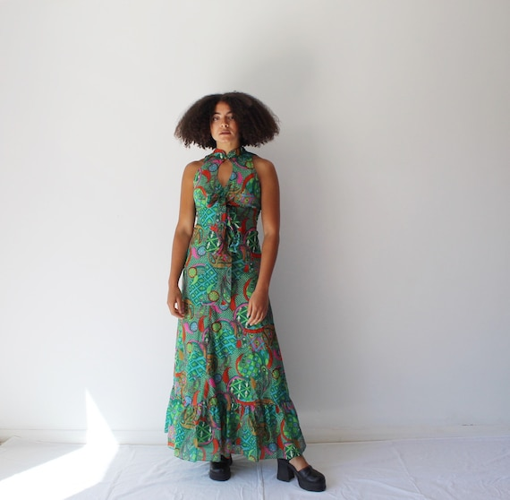 Vintage 70s green psychedelic print cut out maxi d