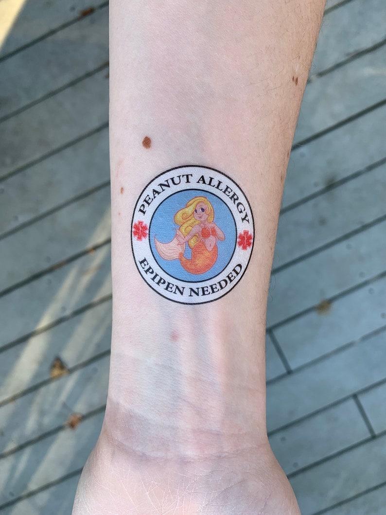 83eff0097 Peanut Allergy Epipen Needed Medical Alert Temporary Tattoo | Etsy