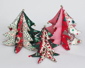 handmade fabric christmas tree table decorations