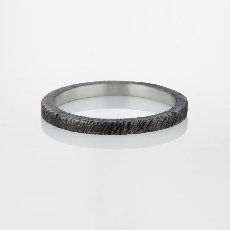 with a gentle striped texture Delicate square profile wedding ring made of oxidized Sterling Silver